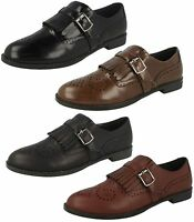 Ladies Black /Brown/Red Spot On Slip On Brogue Style Shoes UK Sizes 3 - 8 F80108