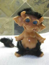 "Vintage 4"" Reisler Troll With Black Rabbit Hair On Head And Waist Blue Eyes"