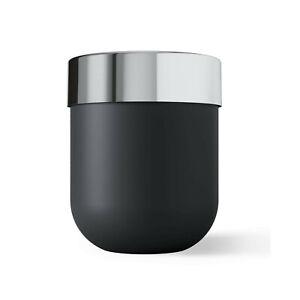 Waste Bin Umbra Junip Waste Can Resin Black Stainless Steel Chrome Band