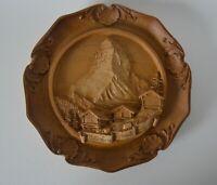 Vintage Decorative Faux Carved Wood Relief Wall Plaque Matterhorn Zermatt Cervin