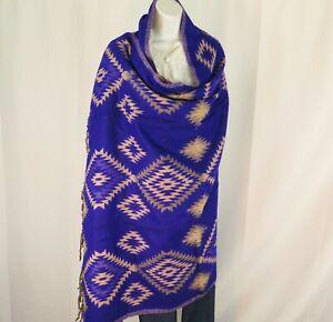 Yak Wool Blend|Shawl/Throw|Handloomed|India|Reversible|Base Colors: Blue