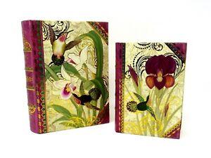 Set of 2 Punch Studio Mini Nesting Book Boxes Hummingbird Orchid 50748 med & lrg
