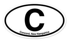 "C Concord New Hampshire Oval car window bumper sticker decal 5"" x 3"""