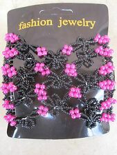 Hot Pink & Black Double Stretch Beaded Metal Teeth Hair Comb  NWT