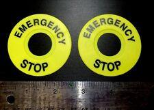 "2pcs 22mm Legend Plate Label ""EMERGENCY STOP"" Yellow"