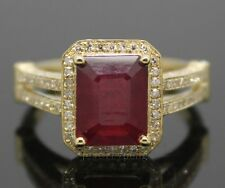 8x10mm Solid 14kt Yellow Gold Natural 5.05Ct Diamond Wedding Blood Red Ruby Ring