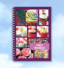 Personalised A6 Notebook Cup Cakes or recipe book, with your own name/words