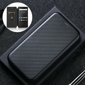 For BlackBerry Keyone /Key2, Luxury Hybrid Flip Carbon Fiber Wallet Case Cover
