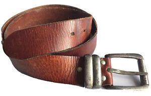 Stunning Vintage Brown Leather Buckle Belt Size 30 32 34 Retro 70's Tan Retro
