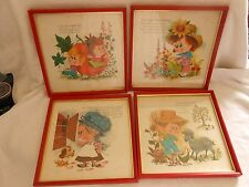 SET of 4 FRAMED NURSERY RHYME PICTURES Peter Pumkin, Mary Mary, Mother Hubbard