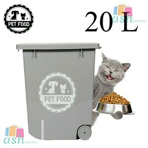 Grey Pet Food Dry Feed Container 20 L Animal Dog Cat Storage Box Bin New