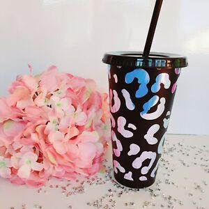 Personalised Black Matt Holographic Leopard Print Tumbler - 24oz Cold Cup