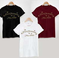 First Christmas as Mrs (Any Name) Personalised T-Shirt - Bride Wedding Married