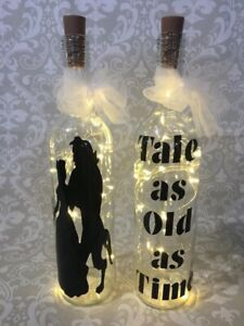 HANDMADE TALE AS OLD AS TIME BEAUTY BEAST LED LIGHT UP BOTTLE SET OF TWO