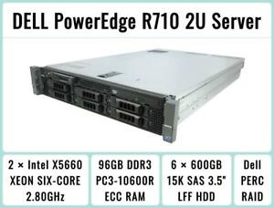 DELL PowerEdge R710 Server 2×Six-Core Xeon 2.8GHz + 96GB RAM + 6×600GB 15K SAS