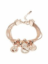 GUESS Bracelet Women's Rose Gold Rhinestone Logo Charm Snake Chain Bracelet NWT