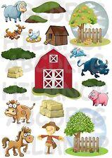 ADESIVI FATTORIA FARM COW FORMATO GRANDE A3 STICKERS ANIMALI MURALI IMPERMEABILI