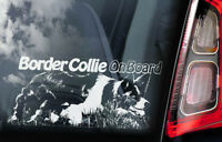 Border Collie on Board - Car Window Sticker - Sheepdog Dog Sign Decal Gift - V02