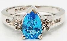 Gorgeous 14K White Gold Pear Cut Blue Topaz & Diamond Band Ring B3671
