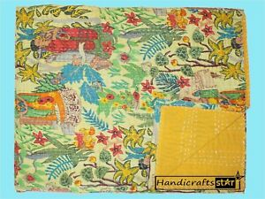 King Size Blanket 100% Cotton Throw Yellow Kantha Quilt Indian Handmade Coverlet