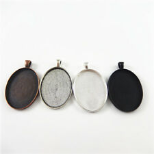 Color Alloy Jewelry Making Crafts 40*30mm 8x Retro Style Cameo Base Tray Mixed