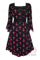 Plus Size Black Peony Red Cross Gothic Renaissance Corset Dress 1X 2X 3X 4X 5X