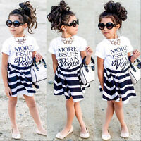 Baby Girls White T-shirt Tops+Striped Skirts 2pcs Outfits Set Dress Clothes 2-7Y