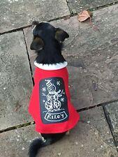 Handmade Christmas Fleece Dog Coat Chalkboard Style XXS to XXXL Personalized