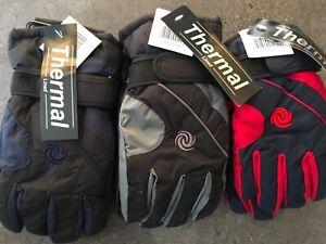 Boys ski gloves 4-8 9-12 yrs black grey navy  waterproof elasticated adjustable