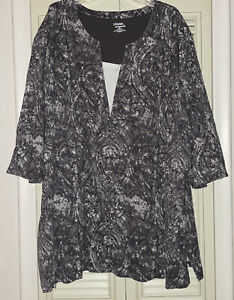 New NWOT Liz & Me Essentials Women's Casual Tunic Top Blouse Gray White Size 5X