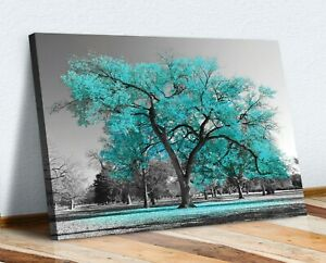 Large Tree Teal Turquoise Leaves Black White Canvas Wall Art Picture Print