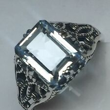 Natural AAA 2ct Aquamarine Emerald Cut 925 Solid Sterling Silver Filigree Ring 8