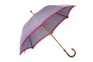 MARIO TALARICO NAPOLI Branded Gray Canopy Handmade Umbrella BAMBOO Handle