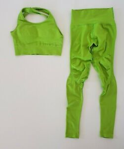 Alphalete Aero Leggings & Sport Bra Set Neon Green Size Small