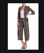 NEW Bobeau Leopard Print Wide Leg Cropped Pants XL