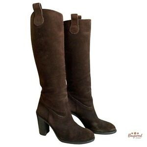 Authentic GUCCI Brown Suede Gucci Script Logo Tall Knee Boots 317032 Size 5