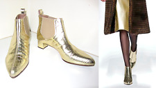 RRP £415. MAX MARA GOLD Booties FAUX CROC LEATHER size 37.5 Metallic Runway 4 5