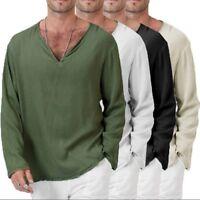 Summer Mens T-Shirt Cotton Linen Thai Hippie Shirt V-Neck Beach Yoga Top Blouse