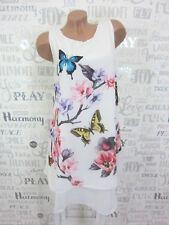 Chiffon Sommerkleid Hängerchen Kleid Blumen unterlegt 36 38 40 42 Weiß E512