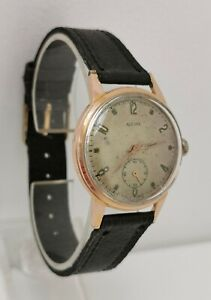Vintage 1950s Aleure (Piaget) Rose Gold Plated 15J Gents 33mm Watch Cal ETA 900