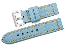 24mm Blu Fatto a Mano Vera pelle Cinturino Orologio Prev Fibbia per Panerai