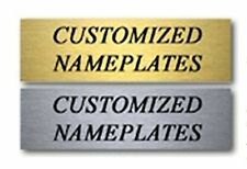 "Engraved New Custom Brushed SILVER / GOLD Office Desk Name Plate 2"" x 8"" size"