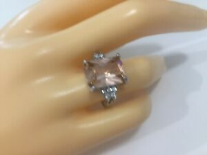 Lovely Morganite and White Sapphire Silver Ring Size 6.5 US. Stocktake Markdown