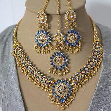 Schmuckset Collier Ohrringe Tikka Gold Blau Bollywood Party Brautschmuck Indien