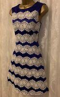 Karen Millen Purple Eyelash Lace Drape Skirt ALine Cocktail Party Dress UK 10 38