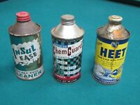 Lot of 3 conetop auto fuel vintage car oil can HEET ChemGuard Insulease old wax