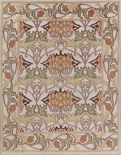 Ivory Floral Assorted Oushak Agra Oriental Area Rug Plush Hand-Knotted Wool 8x10
