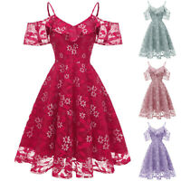 Women Vintage Princess Dress Sexy Floral Lace V-Neck Party Aline Swing Dress