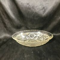 Vintage Clear Glass Anchor Hocking Daisy Stipple Oblong Bowl