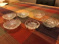 New listing Vintage Set of 6 Clear Glass Open Salt Cellars bowl dip marked italy various